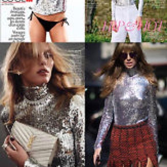 4257e10883 Christian Dior Sequin Silver Turtleneck Fr44